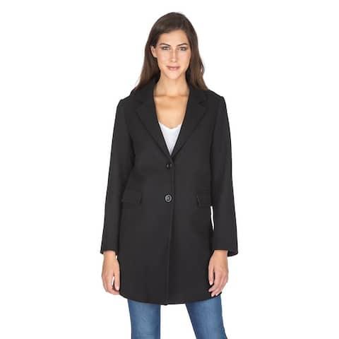 Haute Edition Women's Single Breasted Wool Blend Peacoat Winter Jacket