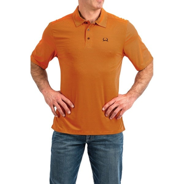 58497d1f Shop Cinch Western Shirt Mens Polo S/S Arenaflex Stripe Orange - Free  Shipping Today - Overstock - 28388917