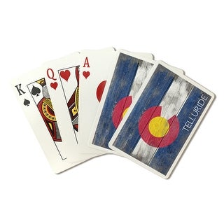 Telluride Rustic Colorado State Flag - LP Artwork (Poker Playing Cards Deck)