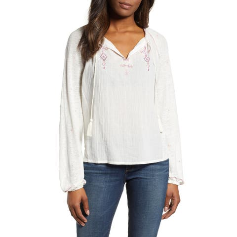 Free People Women's White Ivory Size Large L Embroidered Peasant Blouse