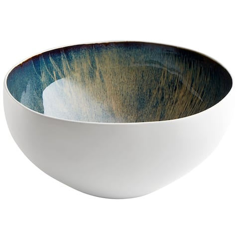 "Cyan Design 10256 Large Android 7-1/4"" Tall Ceramic Decorative Bowl - White and Oyster"