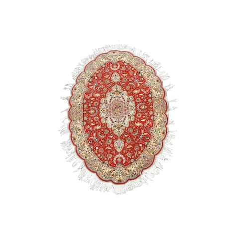 """Wool/ Silk Floral Persian Tabriz Area Rug Hand-knotted Foyer Carpet - 4'3"""" x 6'4"""""""