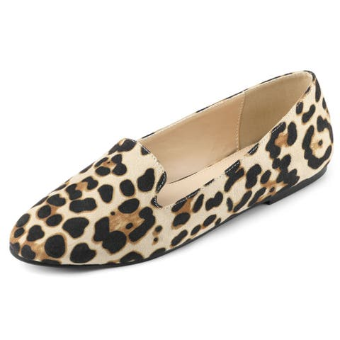 Women's Printed Slip On Round Toe Loafers Flat Shoes
