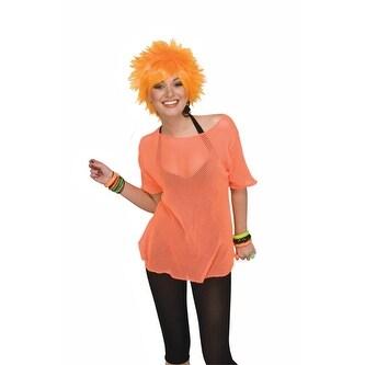 Neon Orange Fishnet Tee Shirt 80's Costume Accessory
