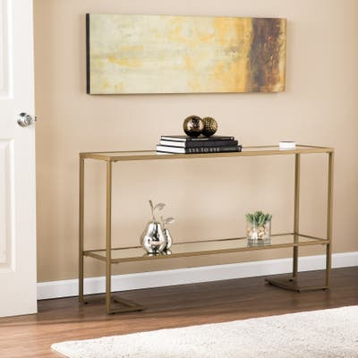 None Grant Glam Goldtone Console Table