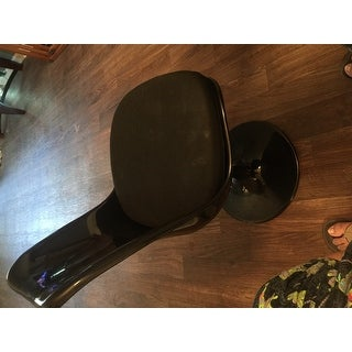 Black Eero Saarinen Style Tulip Dining Chair with White Cushion