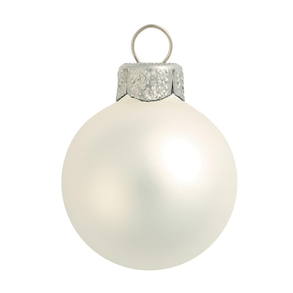"28ct Matte Silver Glass Ball Christmas Ornaments 2"" (50mm)"