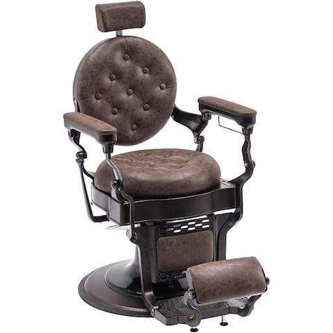 Vintage Barber Chair Metal Frame Hydraulic Recline Salon Equipment2947