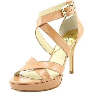 Michael Michael Kors Evie Platform Women Patent Leather Nude Platform Sandal