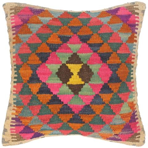 Bohemian Catarina Hand-Woven Turkish Kilim Throw Pillow