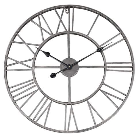 Grey Round Roman Wall Clock