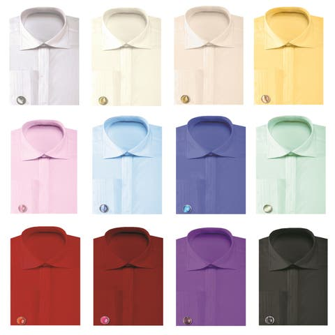 Men's Solid Pleated Collar French Cuff Shirt with Cufflinks