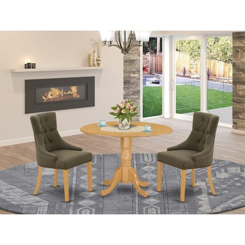 Round Small Table and Parson Chairs in Dark Gotham Grey Linen Fabric (Number of Chairs Option)