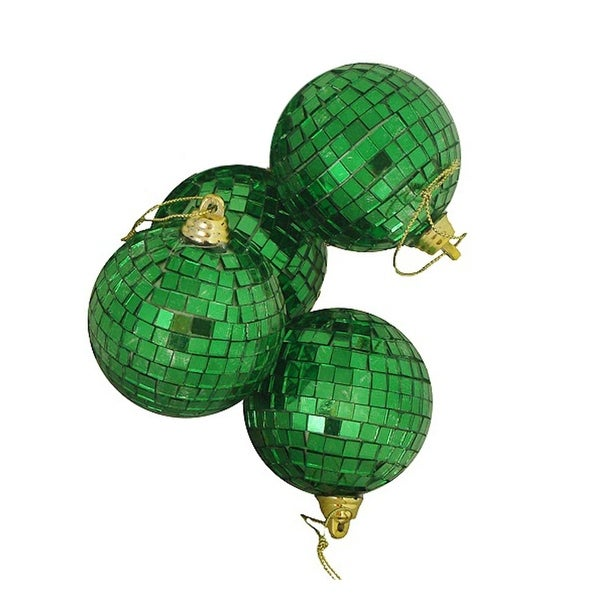 "4ct Green Mirrored Glass Disco Ball Christmas Ornaments 4"" (100mm)"