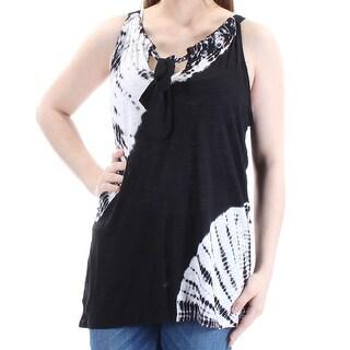 Womens Black Tie Dye Sleeveless Jewel Neck Casual Top Size XXL