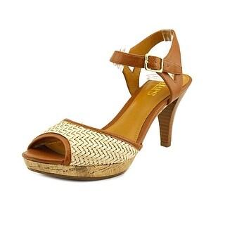 Chaps Marilynn Women Open Toe Leather Brown Sandals