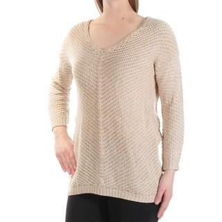 Womens Beige Long Sleeve Jewel Neck Casual Hi-Lo Sweater Size M
