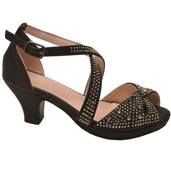 bfb5892172a4 Shop Little Girls Black Glitter Stud Criss Cross Buckle Strap ...