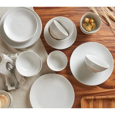Sango Siterra Rustic White 16-Piece Stoneware Dinnerware Set