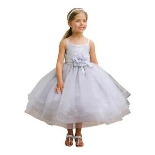 Little Girls Gray Sequin Horse Hair Hemline Bolero Flower Girl Dress
