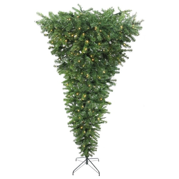 """7.5' x 55"""" Pre-Lit Upside Down Spruce Artificial Christmas Tree - Warm White LED Lights"""