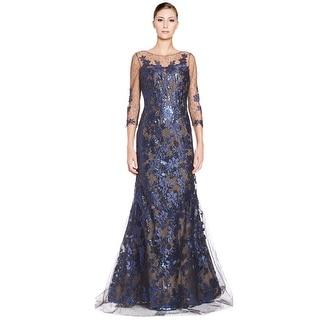 Rene Ruiz Floral Lace Applique 3/4 Sleeve Evening Ball Gown Dress - 14