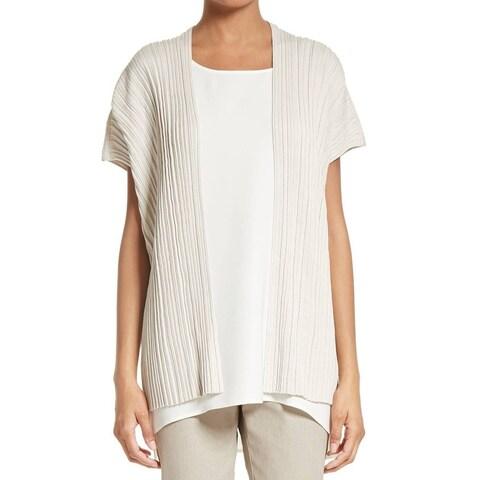 Lafayette NEW Beige Womens Size Large L Pleated Cardigan Sweater