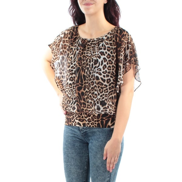 Shop JM COLLECTION  49 Womens New 1401 Brown Beige Animal Print Top M  Petites B+B - Free Shipping On Orders Over  45 - Overstock.com - 23454753 a93cceee5