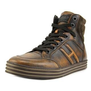 Hogan Hi Top Polacco Basket Men Leather Tan Fashion Sneakers