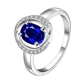 Mock Sapphire Circular Jewels Lining Ring