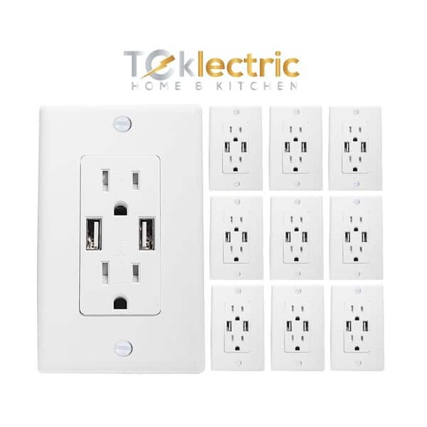 White 4 2a Ultra High Speed Dual Usb Charger Outlet 15a Receptacle W Wall Plate Tamper Resistant Charging Electrical 10 Pack Overstock 28311783