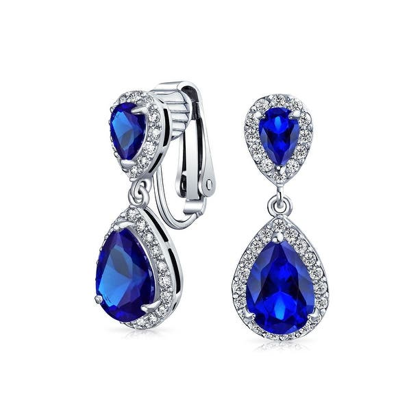 253ab79fc62f7 Bling Jewelry Crown Set Blue CZ Double Teardrop Bridal Clip On Earrings  Rhodium Plated Brass