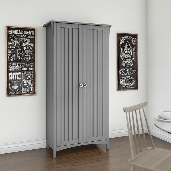 The Gray Barn Lowbridge Kitchen Pantry Cabinet with Doors. Opens flyout.