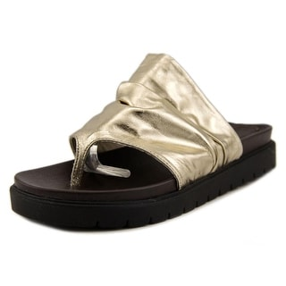 Mia Heritage Oasis Women Open Toe Leather Gold Thong Sandal