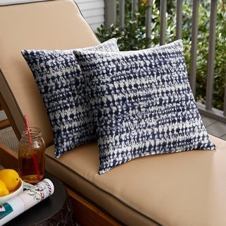 Link to Porter Indigo and Navy Graphic Indoor/ Outdoor Knife Edge Square Pillow Set Similar Items in Decorative Accessories