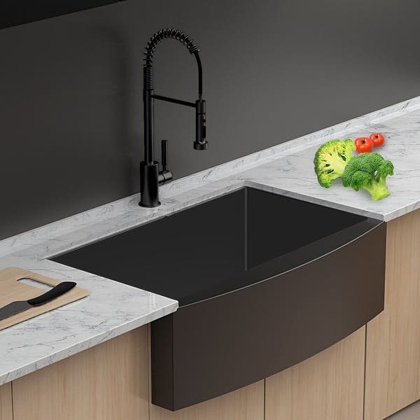 Lordear 30 Inch Matte Black Farmhouse Kitchen Sink Apron Front Sink Stainless Steel Overstock 31297960