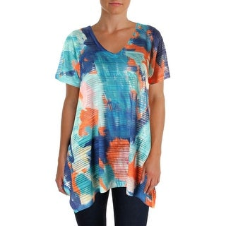 Nally & Millie Womens Lace Printed Pullover Top - 1X