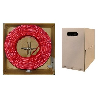 Offex Bulk Cat5e Red Ethernet Cable, Stranded, UTP (Unshielded Twisted Pair), Pullbox, 1000 foot