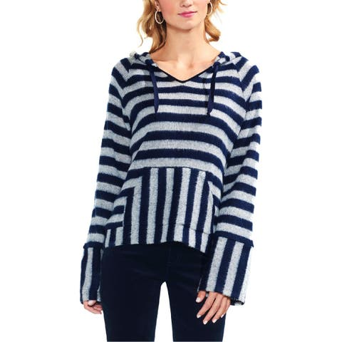 Vince Camuto Womens Hooded Sweater Striped Bell Sleeves - M