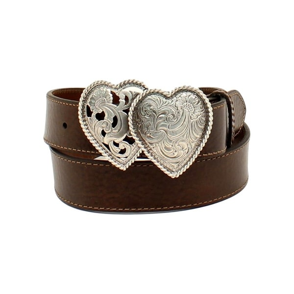 Ariat Western Belt Womens Leather Double Hearts Roped Brown