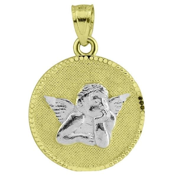 Thinking Angel Coin Pendant 0.9 Inch Mini Round Charm 10k White Yellow Gold