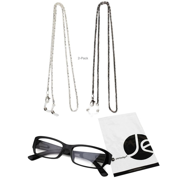 JAVOedge 2 Pack of Shiny Wound Eyeglass/ Glasses Chain (Silver and Black) - silver, black