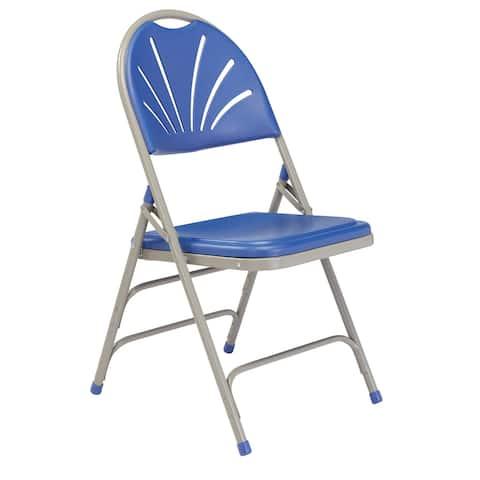 (4 Pack) NPS 1100 Series Deluxe Fan Back with Triple Brace Double Hinge Folding Chair
