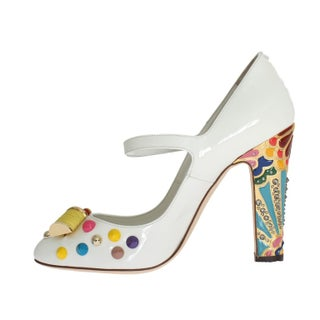 Dolce & Gabbana White Leather Crystal Studded Mary Janes Pumps - eu37-us6-5