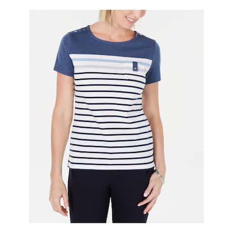 KAREN SCOTT Womens Blue Striped Short Sleeve Jewel Neck Top Size S