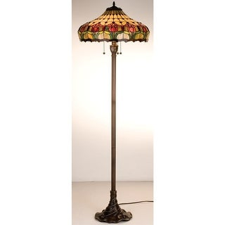 Meyda Tiffany 11070 Stained Glass / Tiffany Floor Lamp from the Colonial Tulip Collection - Mahogany Bronze