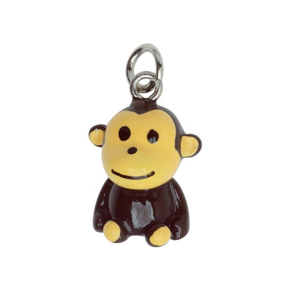 Hand Painted 3-D Cute Sitting Monkey Charm 22mm Lightweight (1)