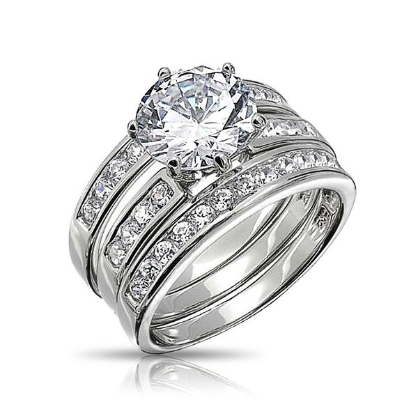 Bling Jewelry 925 Silver Round Cut 3 Piece CZ Bridal Engagement Ring Set