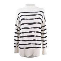 Vince Camuto Women's Mock Neck Wavy Stripe Sweater
