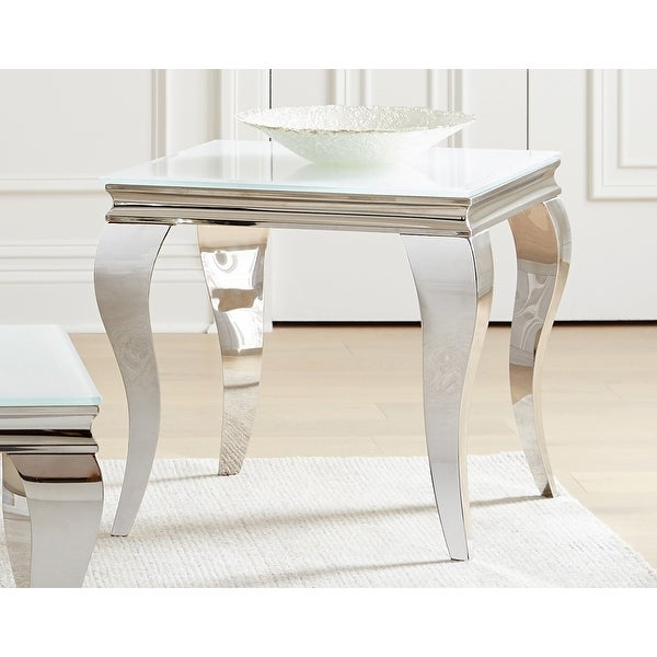 Delilah White and Chrome Square End Table. Opens flyout.